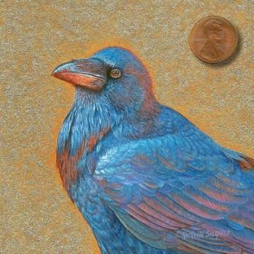 raven corvus corax painting