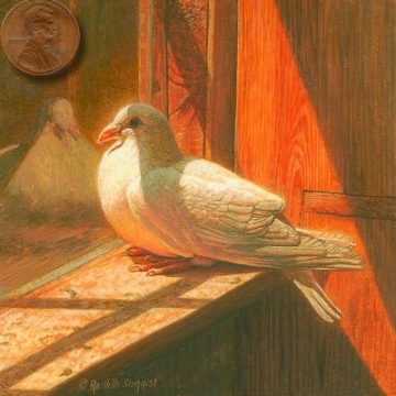paintng of a white pigeon
