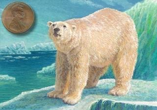 miniature painting of a polar bear