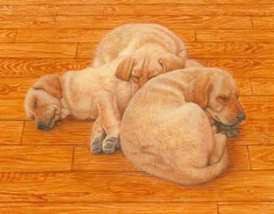 miniature portrait painting of labrador puppies