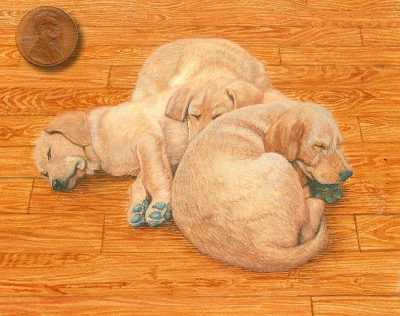 miniature painting of Lab puppies in progress