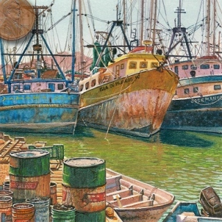 miniature painting of shrimp boats