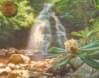 miniature landdscape painting of a waterfall