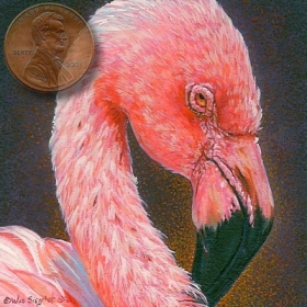 portrait miniature painting of a flamingo