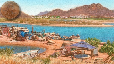 miniature landscape painting of a fish camp at guaymas