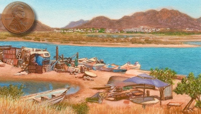 landscape painting of fish camp