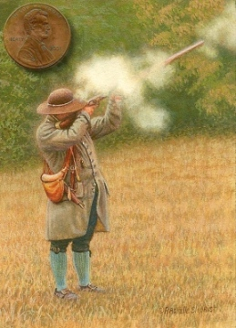 miniature painting of a man shooting