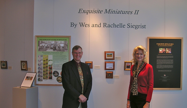 wes and rachelle siegrist at the exquisite miniatures II opening at the yadkin cultural arts center