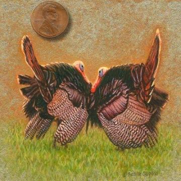 miniature painting of turkeys