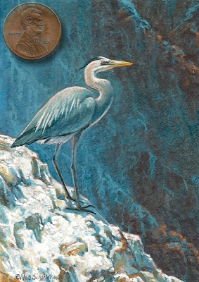 miniature painting of  a blue heron
