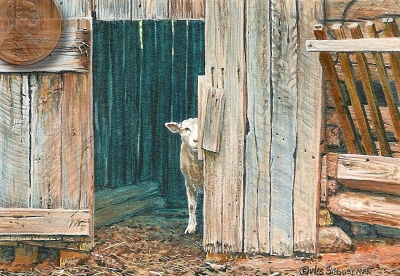 miniature painting of a sheep by Wes Siegrist
