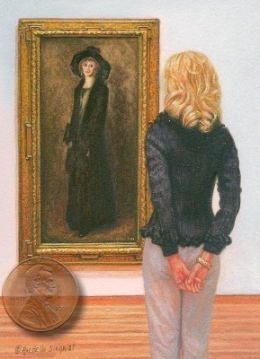 "portrait miniature painting Robert Henri's ""Admiring the Lady in Black Velvet"""