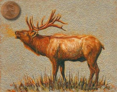 elk painting miniature