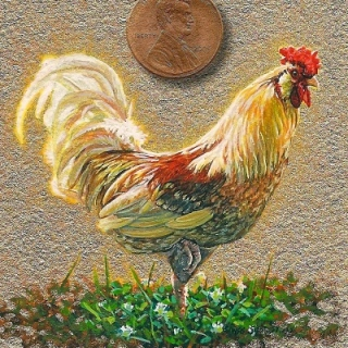 rooster painting miniature
