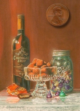miniature still life painting of chocolate