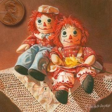 still life painting of dolls