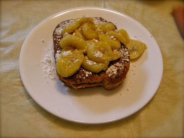 Peanut Butter French toast with caramelized bananas