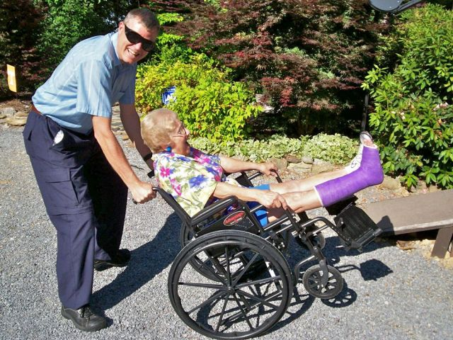 Wes with Barb in wheelchair