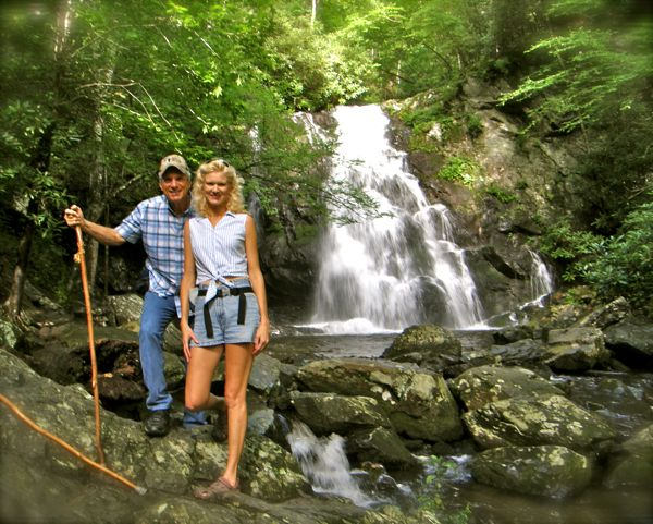 photo of spruce flats falls in the smoky mountains
