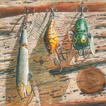 fishing lure still life painting