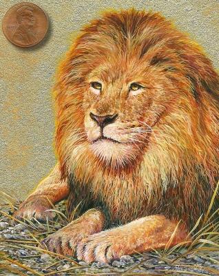 lion fine art miniature painting