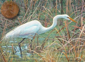 egret miniature painting