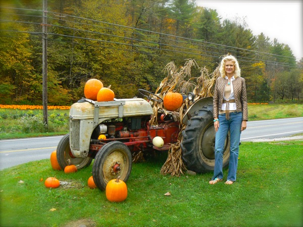 rachelle with old tractor in vermont