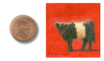 belted galloway cow painting image