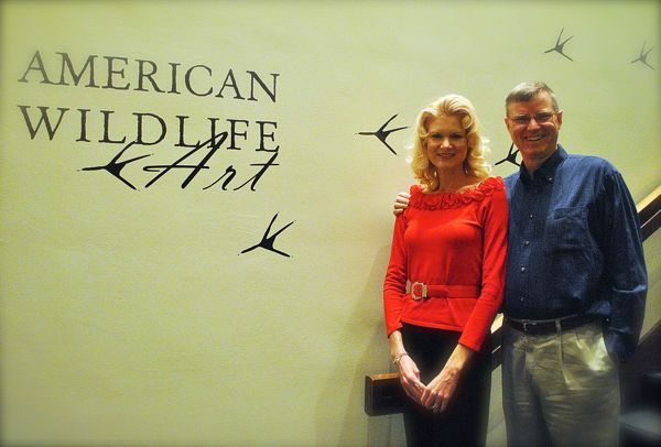 Wes and Rachelle Siegrist with the American Wildlife art exhibition