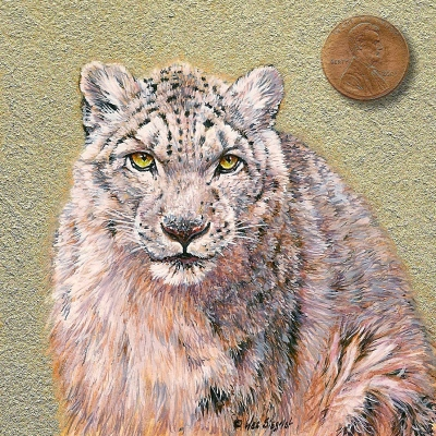 snow leopard miniature painting