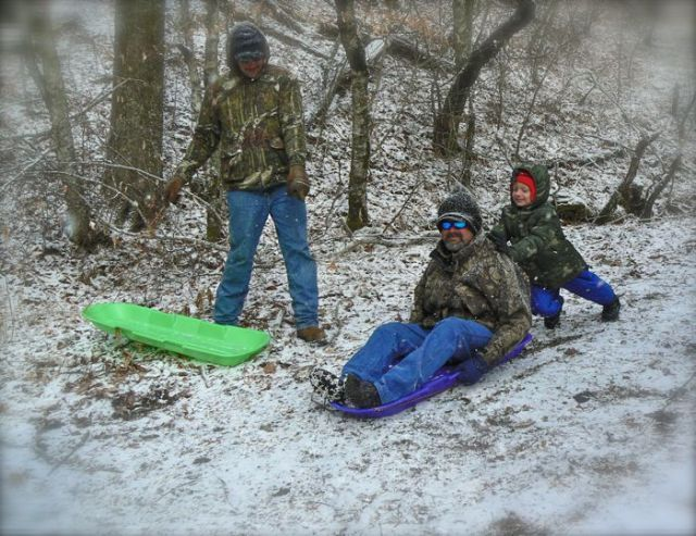 sledding at newfound gap