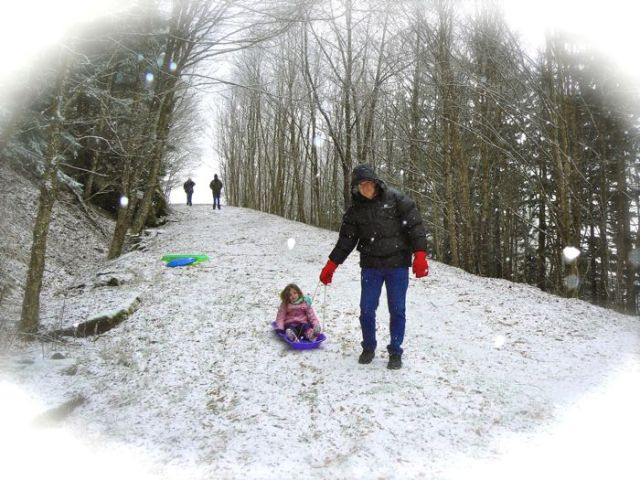 sledding on newfound gap