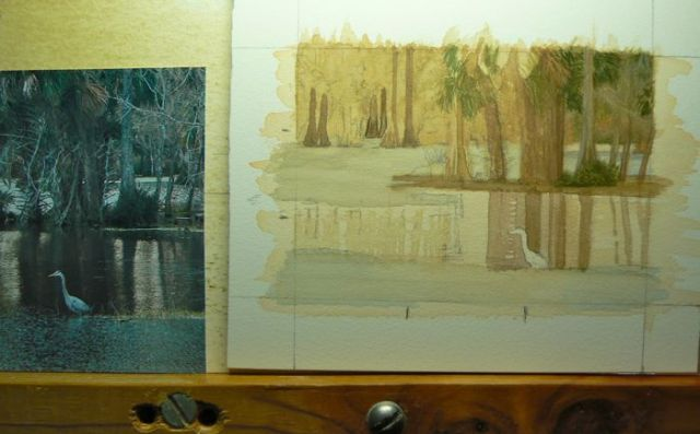 Florida landscape painting in progress by Rachelle Siegrist