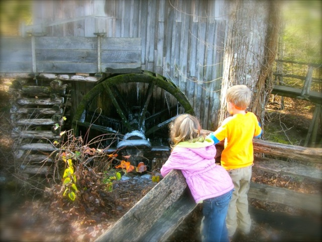 old mill in cades cove at christmas