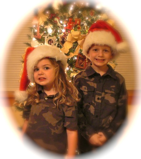 Tyler and Haydyn with santa hats