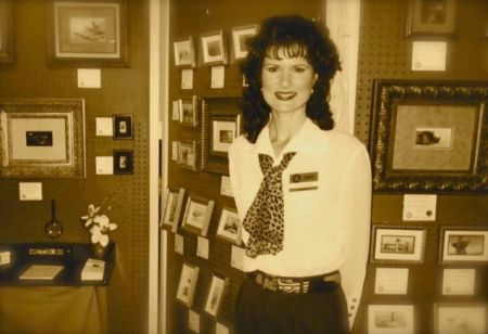 Rachelle Siegrist at SEWE 2001 with her miniature paintings