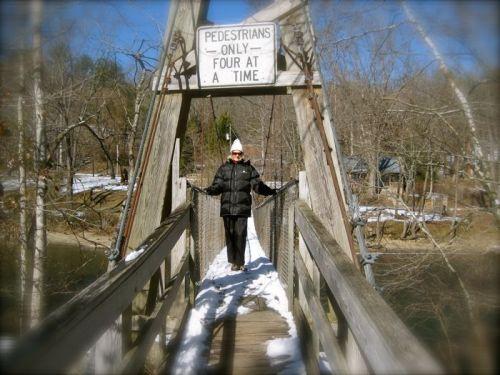 Rachelle Siegrist on the Townsend swinging bridge