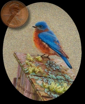 a miniature painting of a male bluebird