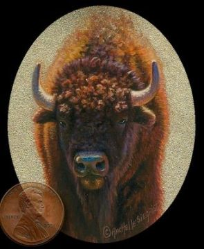 miniature painting of a Bison or American Buffalo