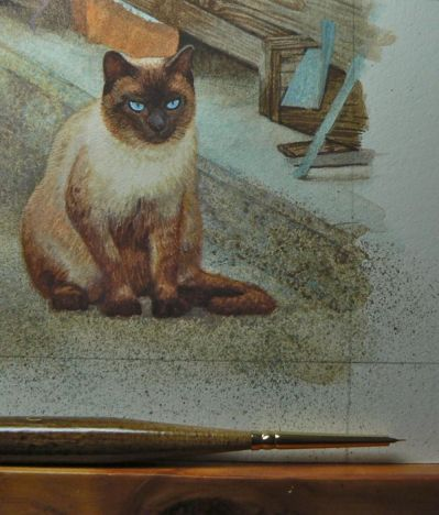 Rachelle Siegrist cat painting in progress step 2