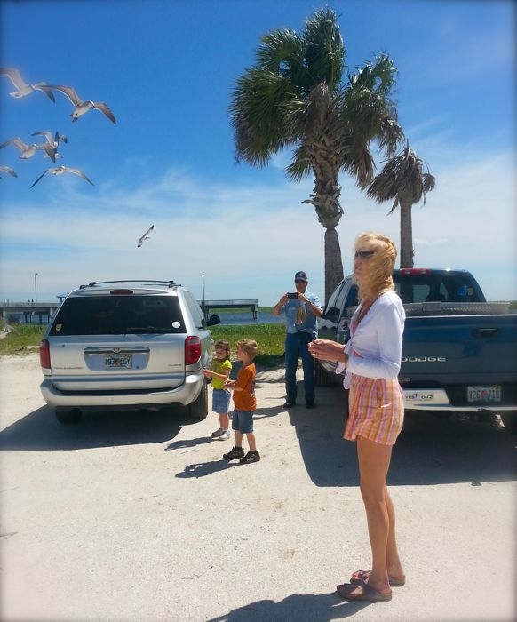 rachelle siegrist feeding seaguls at lake okeechobee