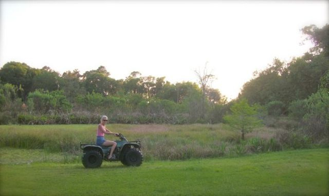 rachelle siegrist riding the 4 wheeler
