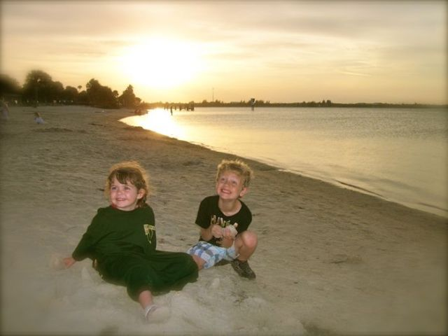 tyler and haydyn at the beach
