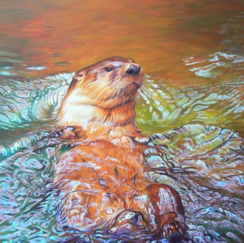 River Otter painting by Wes Siegrist