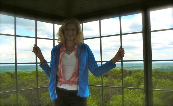 rachelle inside the henryville fire tower