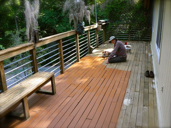 wes painting the deck