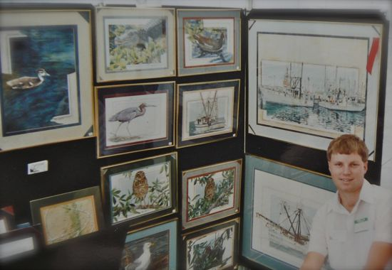 Wes Siegrist with his watercolors in Sebring, FL 1990