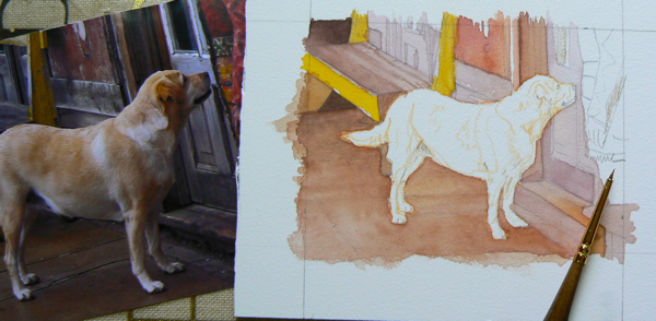 dog painting yellow lab by rachelle siegrist