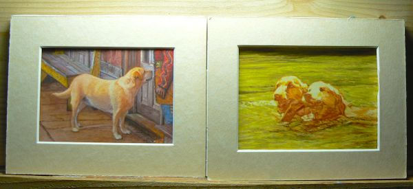 dog paintings in progress by rachelle and wes siegrist