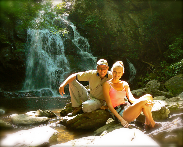 rachelle and wes siegrist at spruce flat falls